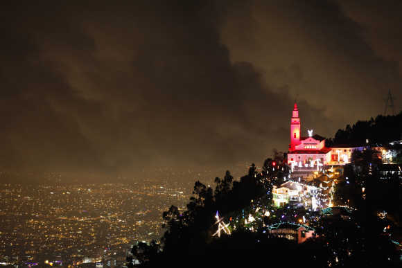 General view of illuminated Christmas decorations at Monserrate church in Bogota.