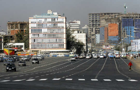 Traffic flows down a main street in Ethiopia's capital Addis Ababa.