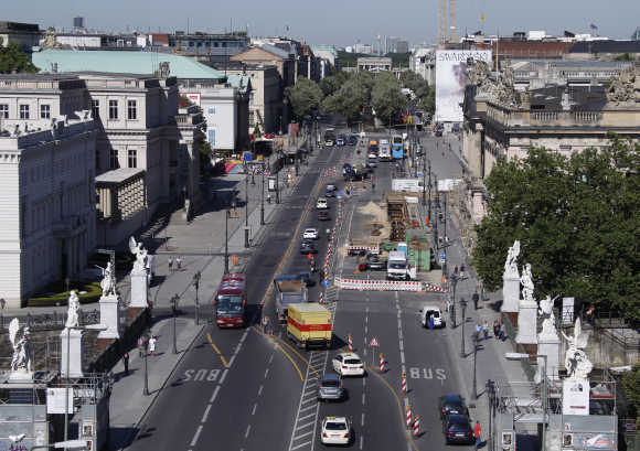 A view shows Unter den Linden avenue as seen from balcony of the Humboldt Box temporary exhibition venue in Berlin.