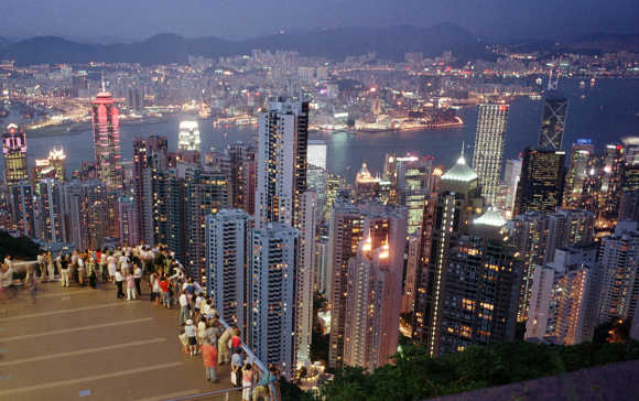 A cityscape of Hong Kong is see from the Peak, moments after sunset.