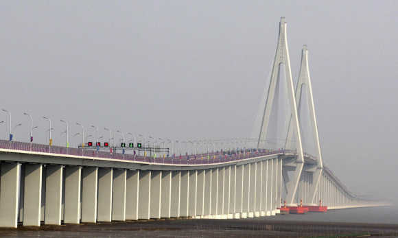 A general view shows the Hangzhou Bay Bridge in Ningbo.