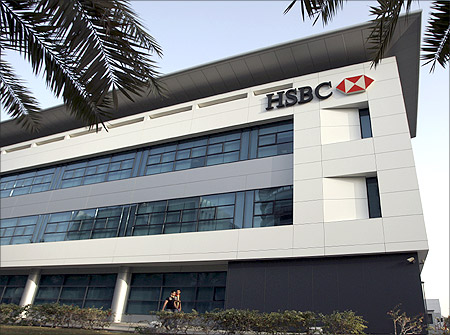 A branch of HSBC bank at Dubai Internet City is seen in Dubai.