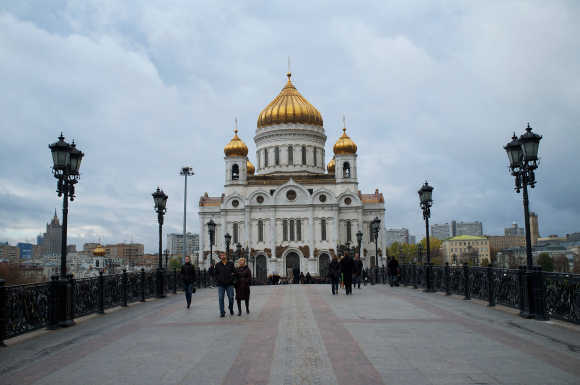 A general view of the Cathedral of Christ the Saviour in Moscow, Russia.