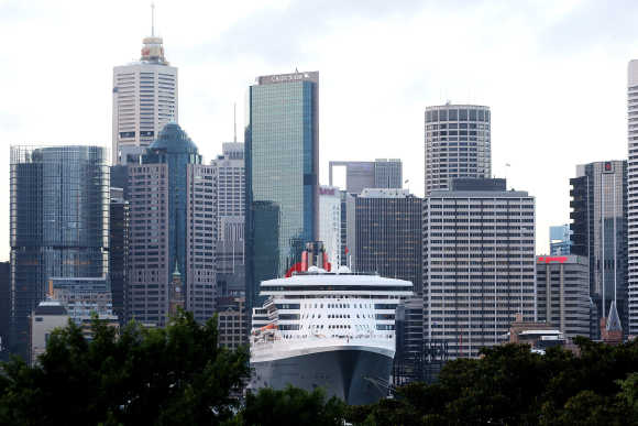 The Queen Mary 2 berths at Circular Quay in Sydney, Australia.