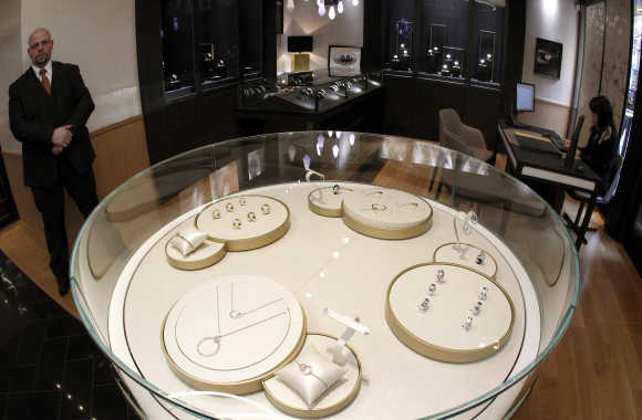 A view of jewellery and watches displayed in glass cabinets at a shop of Swiss luxury brand Piaget at the Bahnhofstrasse in Zurich.