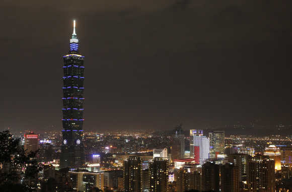 The Taipei 101 building is seen before Earth Hour in Taipei.