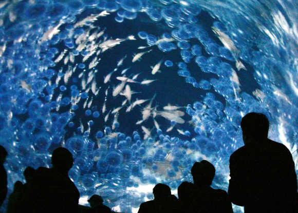 Visitors look at the Earth Room, the world's first 360-degree all-sky image system, in Nagoya.