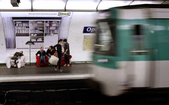 A view of a metro station in Paris.