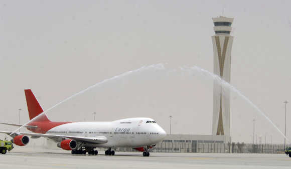 A welcome ceremony for a cargo plane at Dubai World Central-Al Maktoum International Airport.