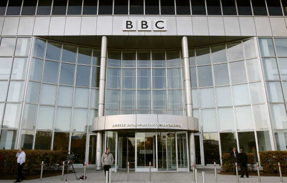 A BBC building is seen in White City in western London.