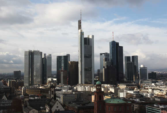 A view of the Frankfurt skyline with its banking towers.
