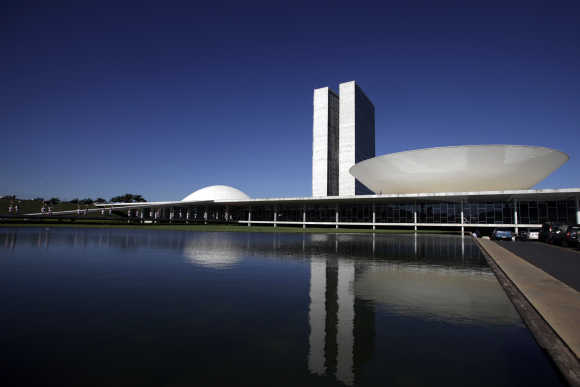 The Brazilian National Congress designed by architect Oscar Niemeyer is seen in Brasilia.