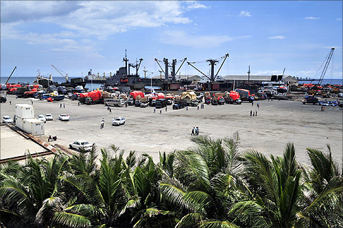 Somalia's seaport bustles with business as trucks come to offload ships of their cargo in Mogadishu.
