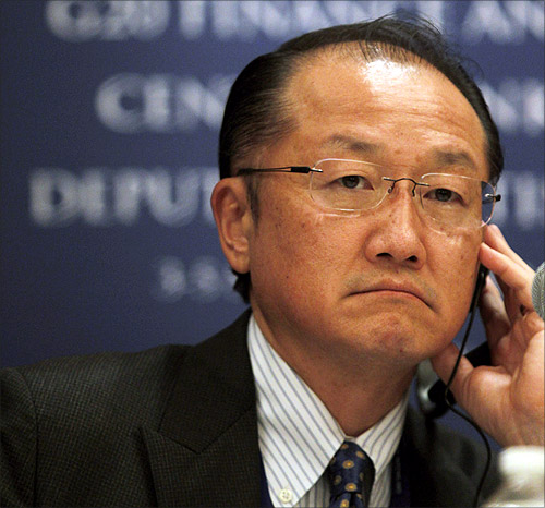 World Bank President Jim Yong Kim attends a news conference as part of the G20 meeting in Mexico City.