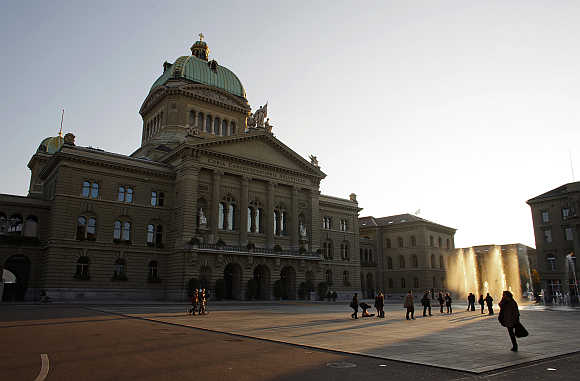 A view of the Swiss Federal Palace in Bern.