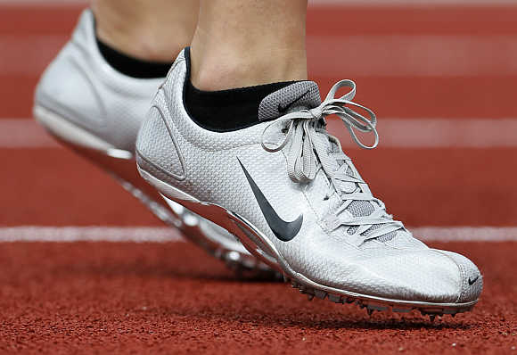 An athlete in a pair of Nike shoes at the US Olympic athletics trials in Eugene, Oregon.