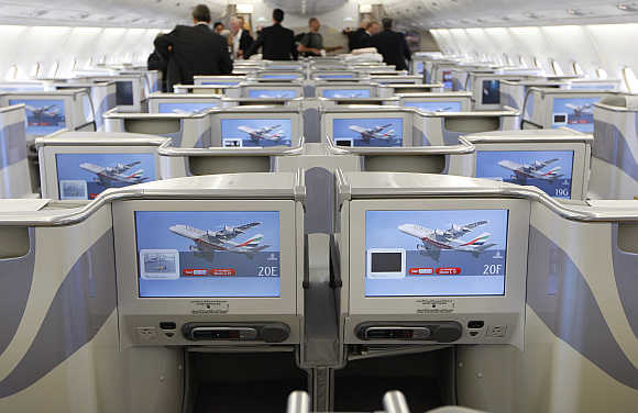 Business-Class seats inside Emirates Airbus A380 after the jet arrived in New York.
