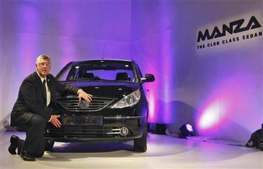 Tata Motors managing director Karl Slym poses with the Tata Indigo Manza club class sedan.