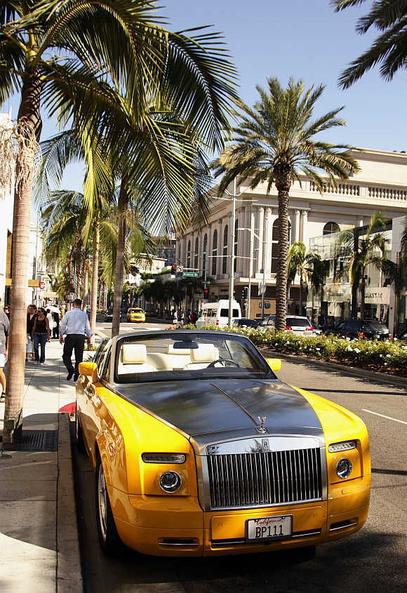 Rolls-Royce convertible is seen parked on Rodeo Drive in Beverly Hills.