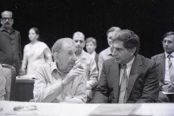 JRD Tata seen with Ratan Tata after handing over the reins.