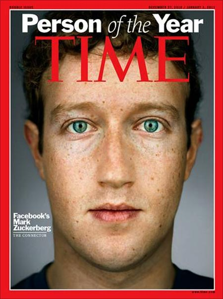Mark Zuckerberg on the cover page of Time magazine.