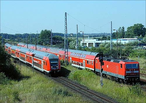 Bombardier double-deck rail cars in Germany.