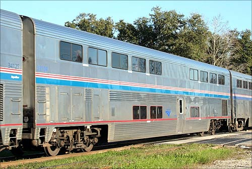 Train lounge car converted from Superliner.
