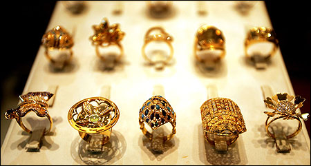 Gold rings are displayed at a jewelry shop in Baghdad, Iraq.