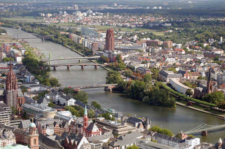 Wheat is widely cultivated as a cash crop. A view of Frankfurt.