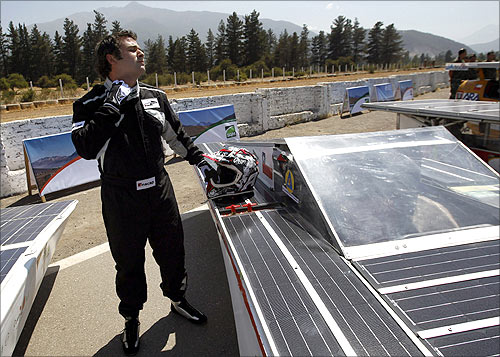 A racer prepares to participate in a promotional launch of the Atacama Solar Race 2012 in Santiago.