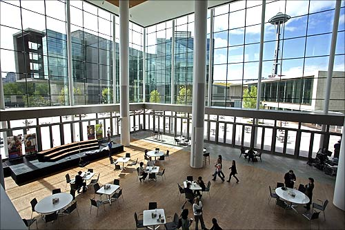 A view shows the atrium in the newly opened Bill and Melinda Gates Foundation campus in Seattle, Washington.