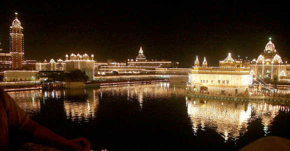 Lights illuminate the Golden Temple complex in Amritsar in Punjab.