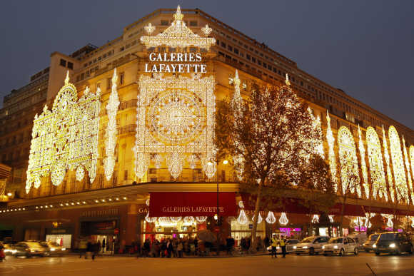 A view of Galeries Lafayette department store in Paris.