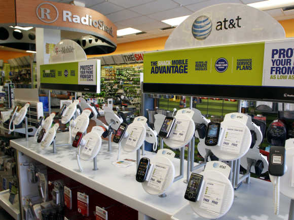 AT&T mobile phones at a RadioShack electronics store in Los Angeles.