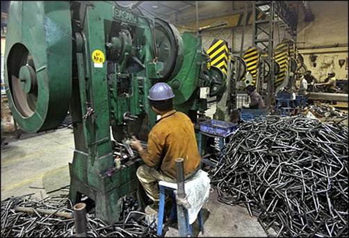 A worker at a factory in Ludhiana.