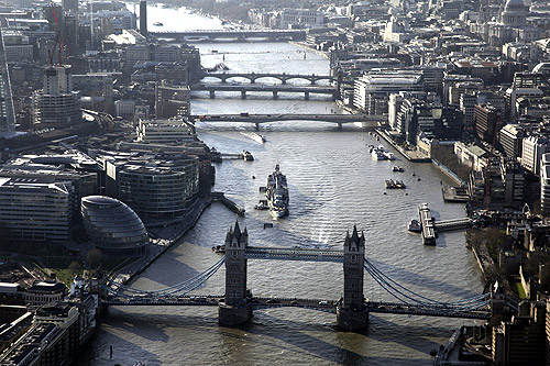 An aerial view shows Tower Bridge in London