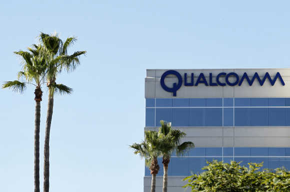A view of one of Qualcomm's numerous buildings located on its San Diego Campus.