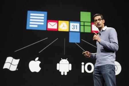 Sundar Pichai, senior vice president of Google Chrome, speaks during Google I/O Conference at Moscone Center in San Francisco.