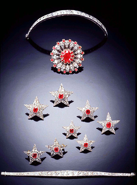This set of eight ruby and diamond stars, made in the mid 19th century, originally in the collection of her Majesty Maria Isabella II, Queen of Spain.