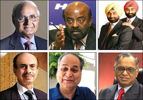 Top (L-R): K P Singh, Shiv Nadar and Malvinder and Shivinder Singh; Bottom (L - R): Adi Godrej, Rahul Bajaj and N R Narayana Murthy.