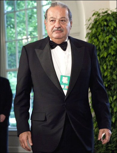 Carlos Slim, chairman and CEO of Telmex, Telcel and America Movil, arrives at the White House.