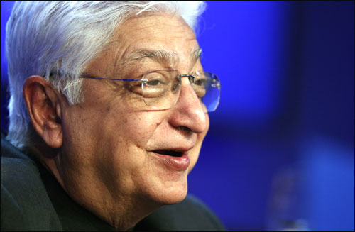 Wipro Chairman Azim Premji attends a session at the World Economic Forum.