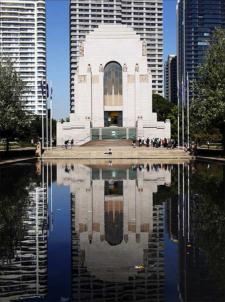 Tourists visit the ANZAC memorial building at Hyde park in central Sydney.