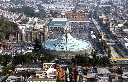 An aerial view of the Basilica of the Virgin of Guadalupe in Mexico city.
