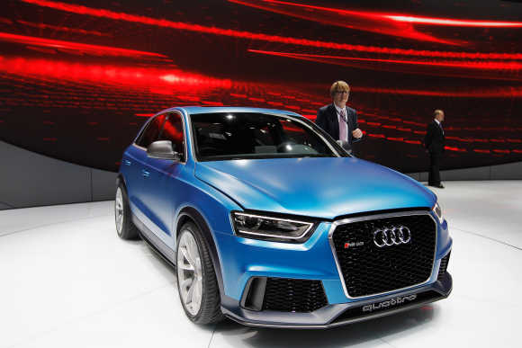 An Audi RS Q3 conception car is displayed during the media day of the 2012 Beijing International Automotive Exhibition at Beijng International Exhibition Centre in Beijing, China.