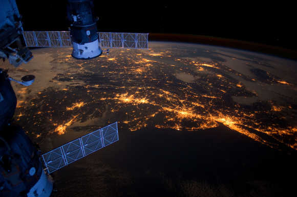 A nighttime view of the Earth from the space station.