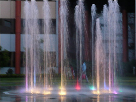 Dancing fountains at Infosys Bangalore campus.