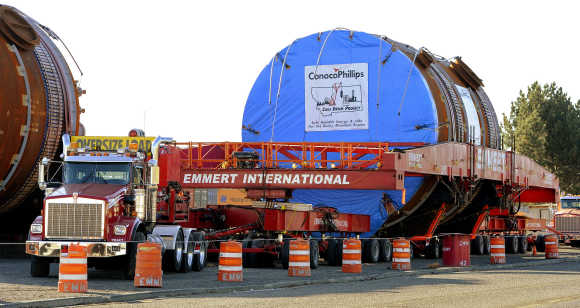 One of four megaloads of refinery equipment is prepared to be transported at the Port of Lewiston in Idaho.