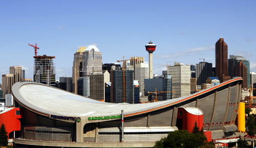 The Pengrowth Saddledome stands as one of the icons of the Calgary, Alberta skyline