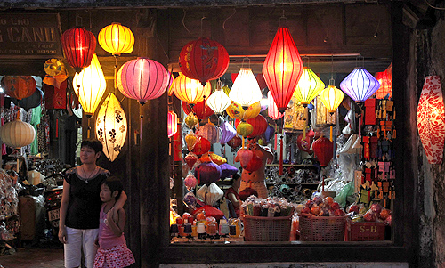 A lantern shop is pictured in the city of Hoi An
